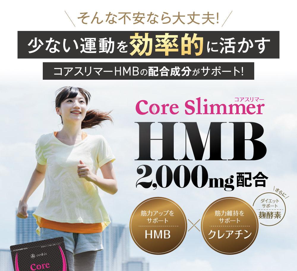 少ない運動を効率的に活かすコアスリマーHMBの配合成分がサポート!