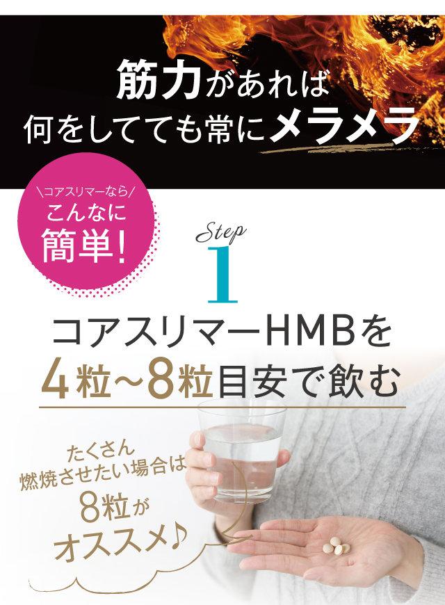 STEP1 コアスリマーHMBを4粒~8粒目安で飲む